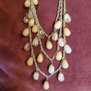 Issac Mizrahi Necklace and Earring Set Peach Color